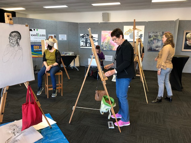 Printbank Mackay artist Bridgette Zimmermann demonstrates her art practice as part of our Artist in residence program in the Art on Show Pavilion.